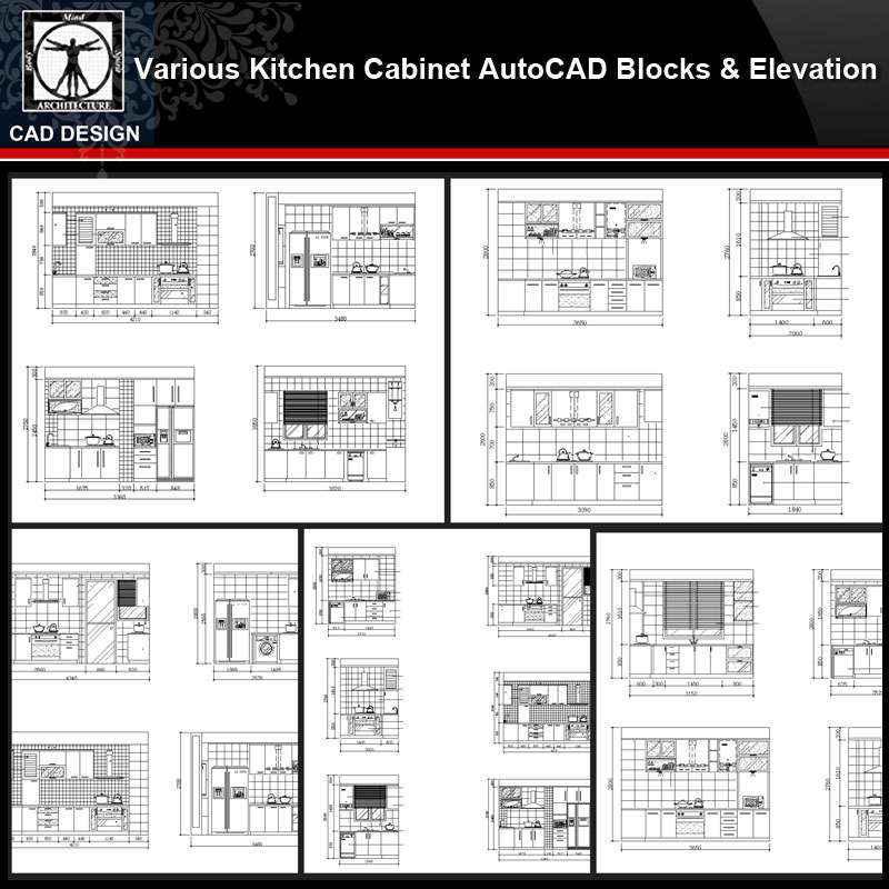 Various Kitchen Cabinet Autocad Blocks Elevation V 1 All Kinds Of Kitchen Cabinet Cad Drawings Bundle Autocad Design Pro Autocad Blocks Drawings Download